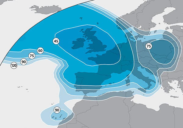 Astra 2E Europe beam