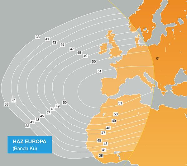 mapa de cobertura del Haz Europa del satélite Amazonas 3