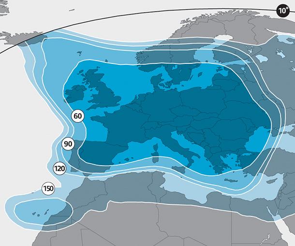 cobertura del satélite Astra 3B, haz Europe Ku-band wide beam