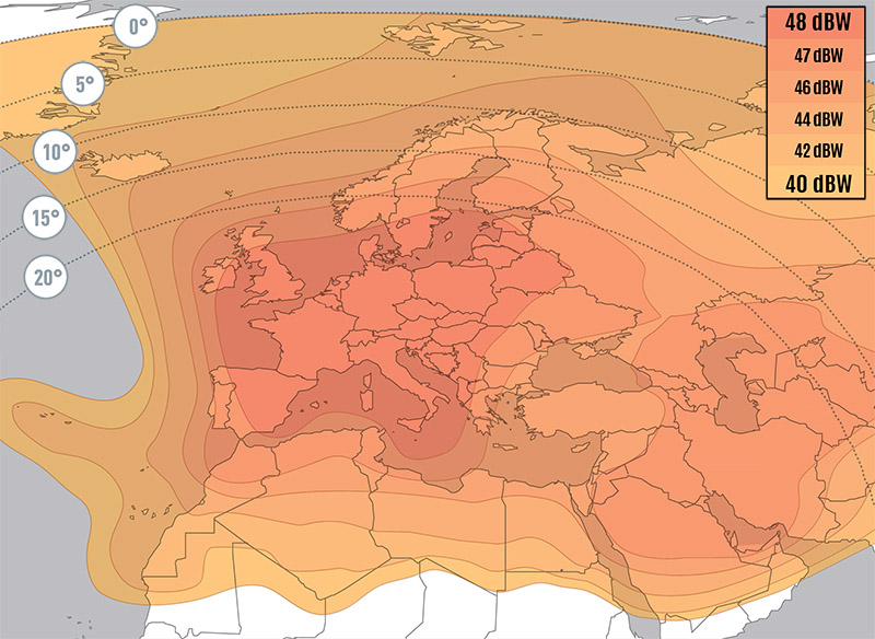 Zone de couverture Eutelsat 10A Widebeam
