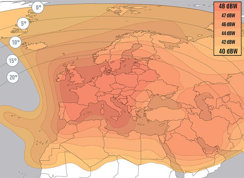 Zone de couverture Eutelsat 10A Widebeam