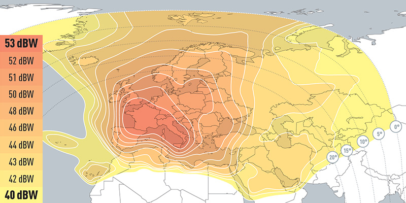 Zone de couverture Eutelsat Hot Bird 13B