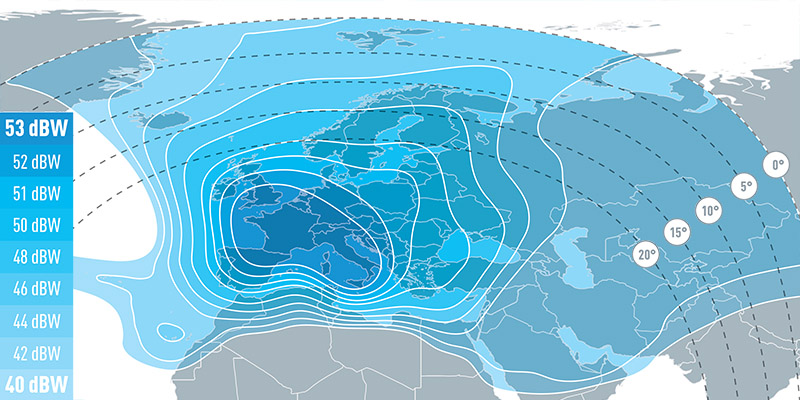 Zone de couverture Eutelsat Hot Bird 13E