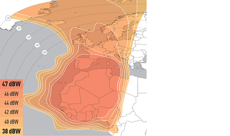 Zone de couverture Eutelsat 21B WESTERN