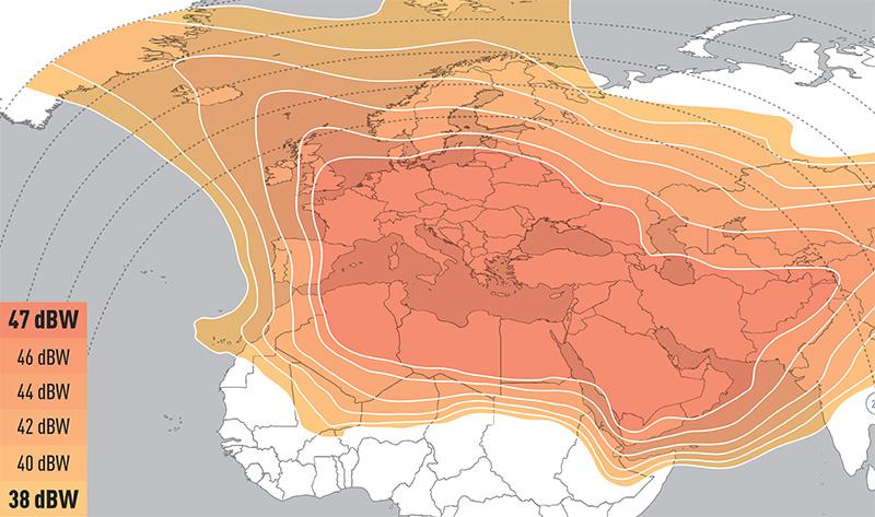 Zone de couverture Eutelsat 21B WIDE