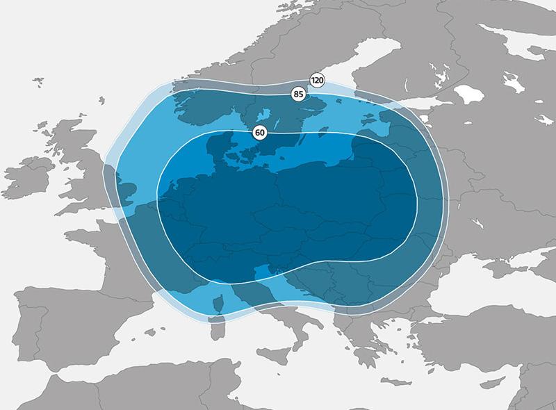Zone de couverture Astra 3B Europe