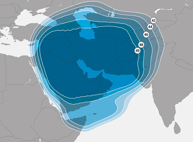 Zone de couverture Astra 3B Middle East