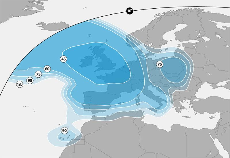 Zone de couverture faisceau Europe Astra 2E 28,2° Est