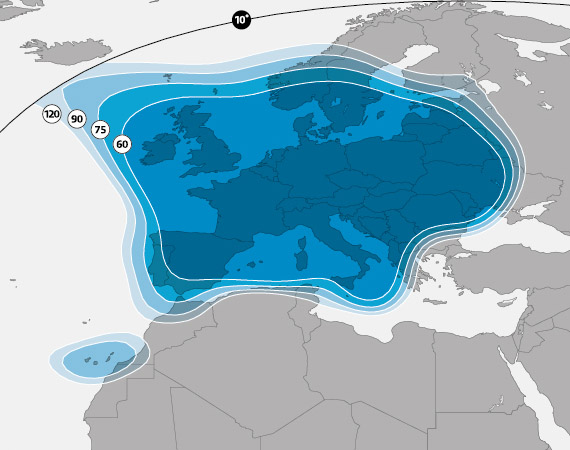 Astra 2G Europe Beam coverage map
