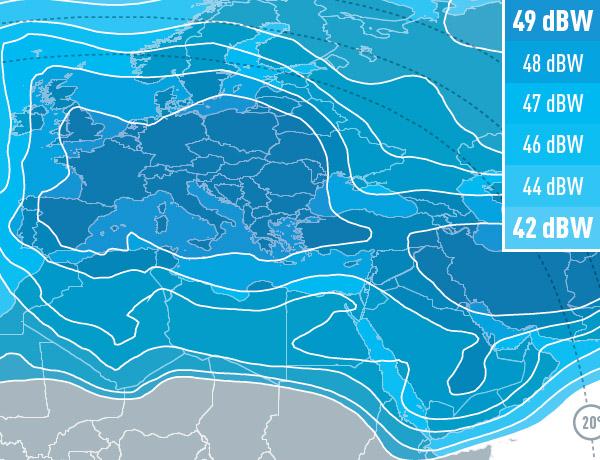 carte faisceau Europe Eutelsat 3B 3º Est