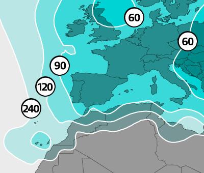 Mapa de cobertura con diámetros del haz europeo del satélite Astra 4A 4,8° Este