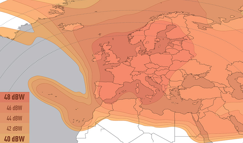 Zone de couverture Eutelsat 7A Europe A