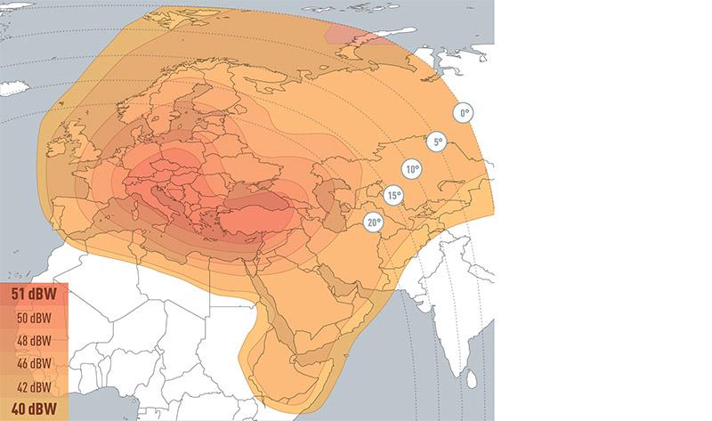 Zone de couverture Eutelsat 7A Europe B