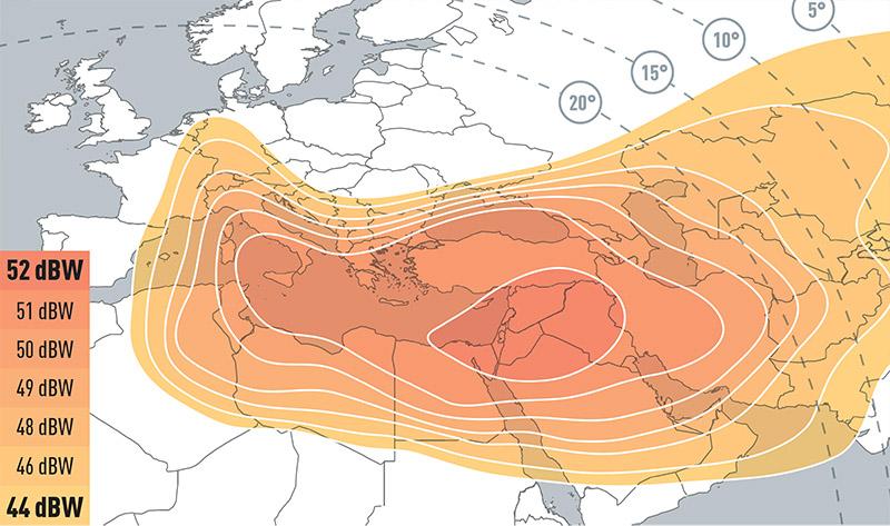 Zone de couverture Eutelsat 7B Europe A