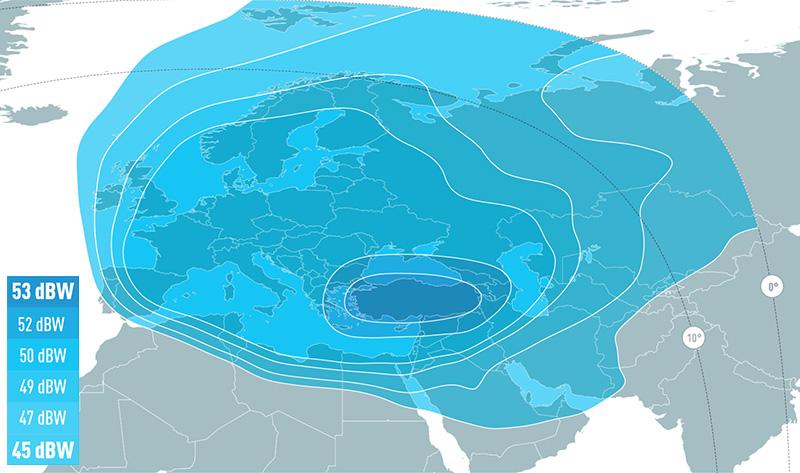 Zone de couverture Eutelsat 7C West