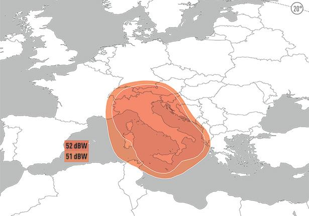 Zone de couverture Eutelsat 9B Widebeam