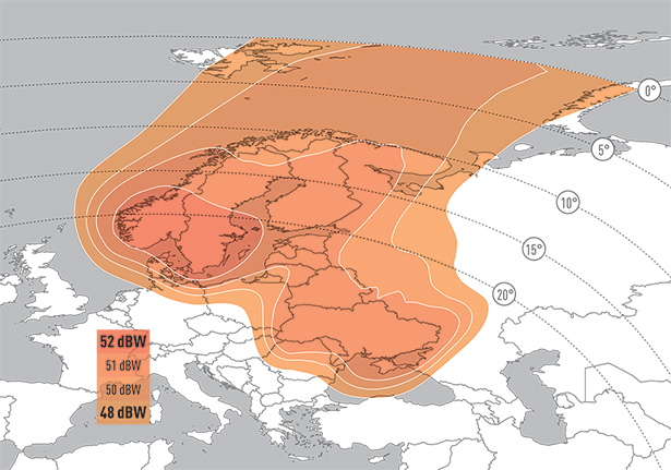 Zone de couverture Eutelsat 9B Nordic Baltic