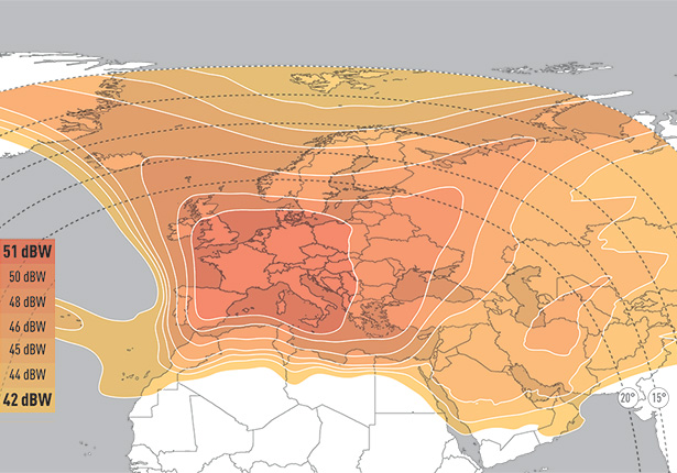 Eutelsat 9B Widebeam Coverage Map