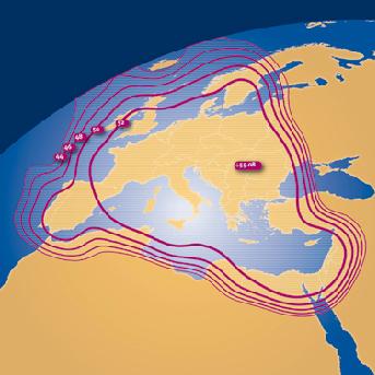 Mapa cobertura F1 Hellas Sat 2