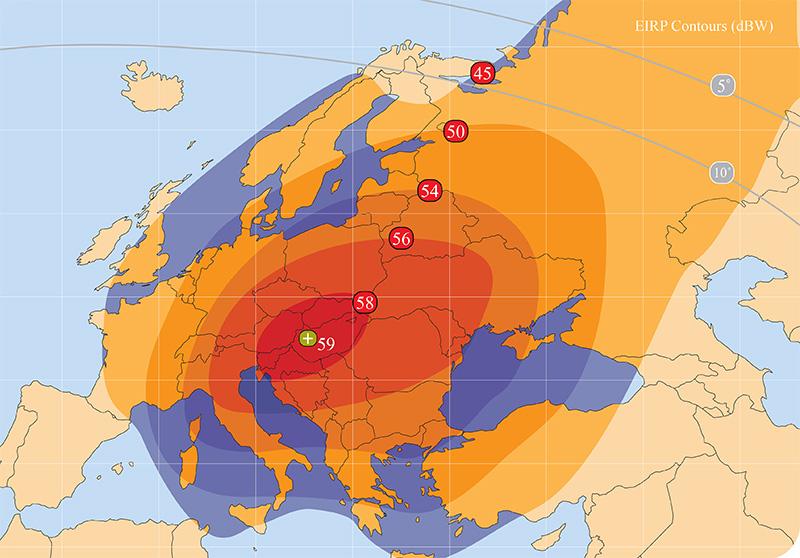 Zone de couverture Amos 3 Europe beam