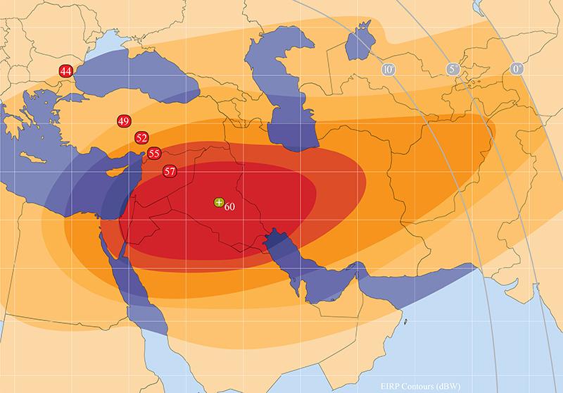 Zone de couverture Amos 3 Middle East beam