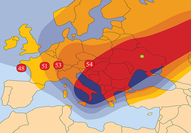 Zone de couverture Amos 7 Pan European beam