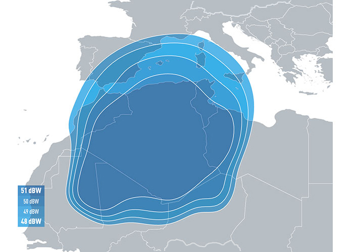 Zone de couverture Eutelsat 5 West B Algeria Beam