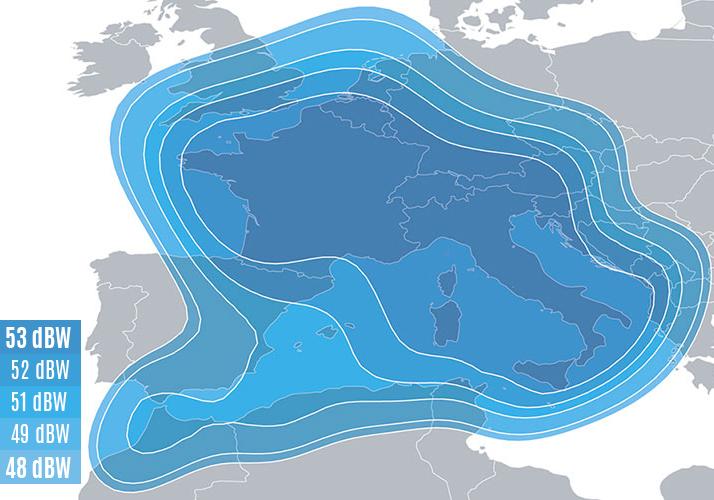 Zone de couverture Eutelsat 5 West B Transalpine