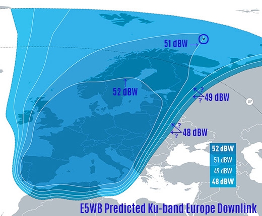 Eutelsat 5WB carte prédictive faisceau Europe, 5 courbes pour 4 valeurs de PIRE