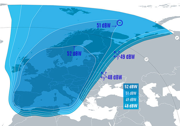 Zone de couverture Eutelsat 5 West B EUROPE Beam