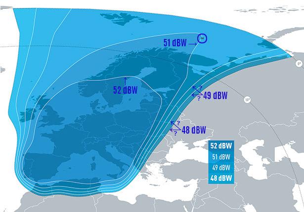 Zone de couverture Eutelsat 5 West B EUROPE Beam