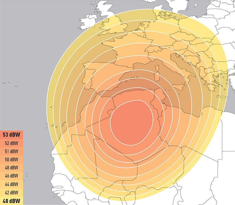 Zone de couverture Eutelsat 5 West A NWA Beam