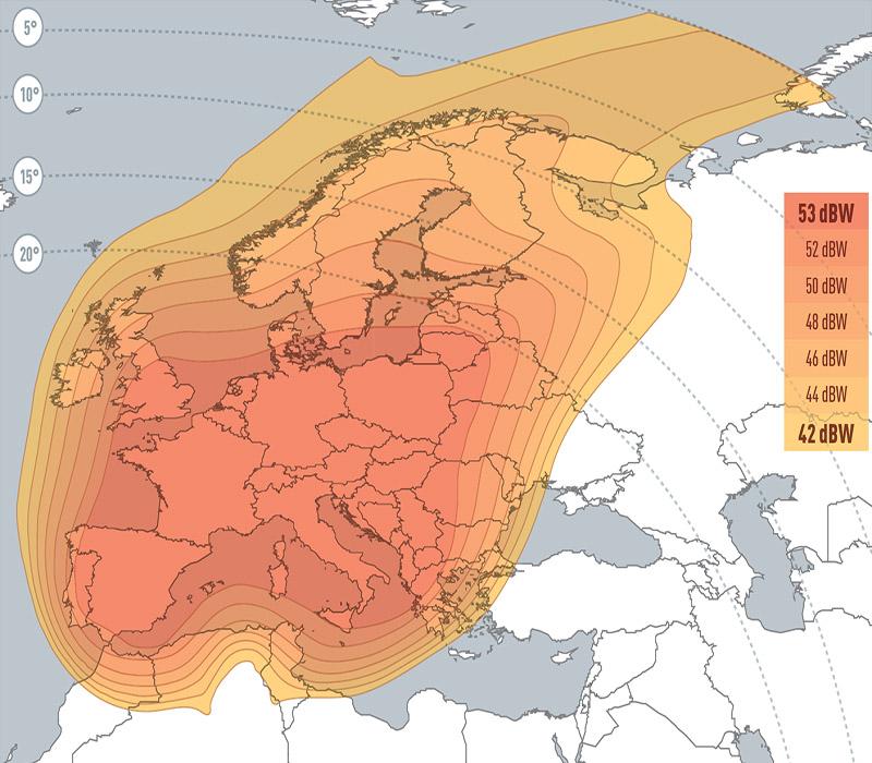 Zone de couverture Eutelsat 5 West A SUPER Beam