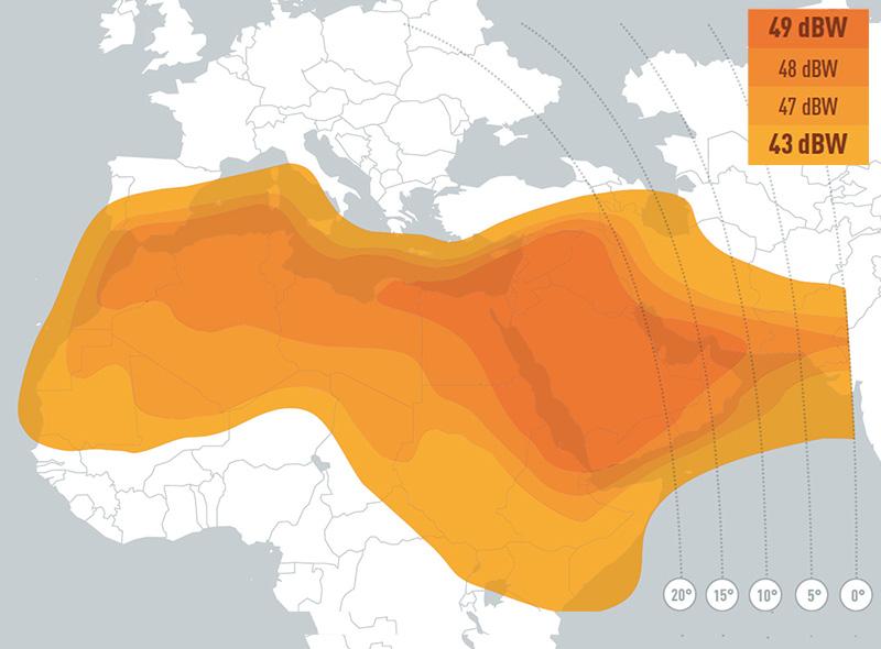 Zone de couverture Eutelsat 7 West A MENA