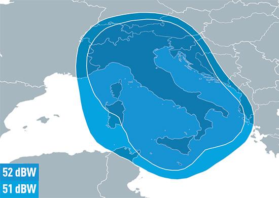 Eutelsat 9B Ku-band Italy Downlink Coverage