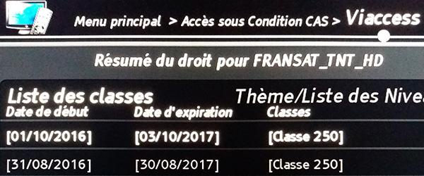Droits d'accès sous condition CAS. Viaccess date d'expiration expiration Fransat.