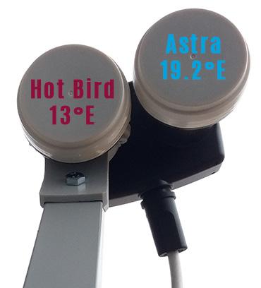 LNB Monobloc 6° pour 13°E et 19,2°E. Hot Bird au foyer, Astra décalé.