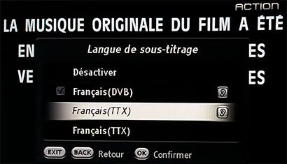 menu sous-titres ACTION, DVB-S et TTX