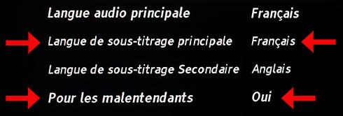 menu choix sous-titres automatiques