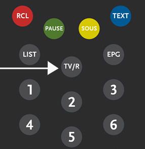 Détail télécommande touche TV/R