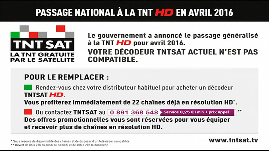Passage national à la TNT HD en avril 2016