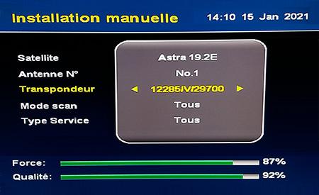 TP 12285 V 29700 Astra 19,2° Est Puissance et qualité de signal