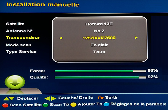 Installation manuelle Hot Bird